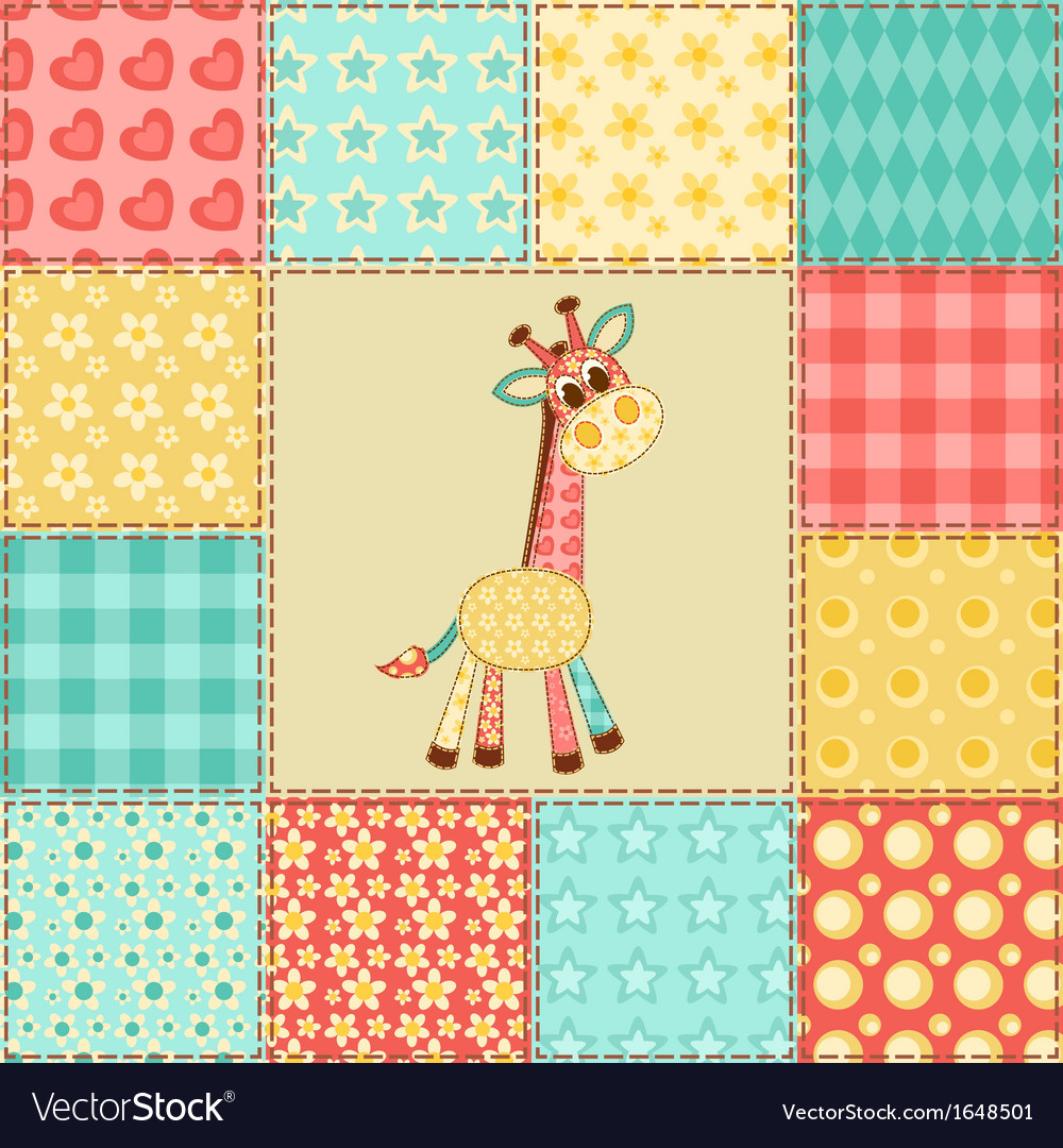 Giraffe patchwork pattern vector | Price: 1 Credit (USD $1)