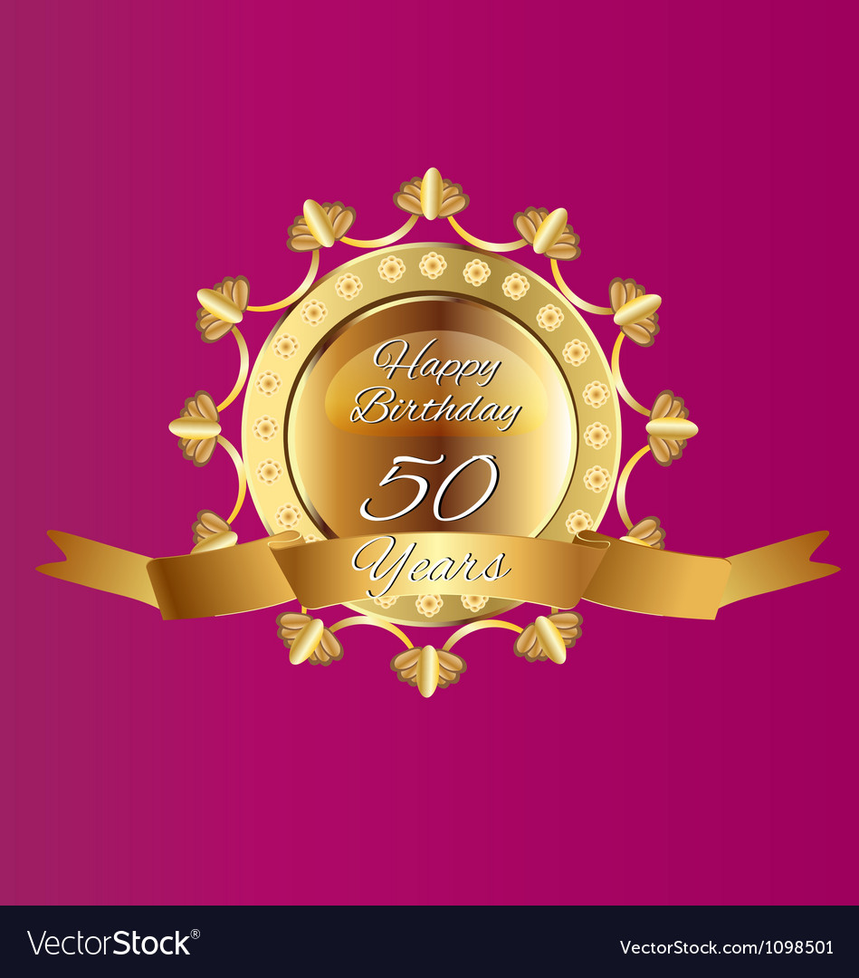 Happy 50 birthday in gold design vector | Price: 1 Credit (USD $1)