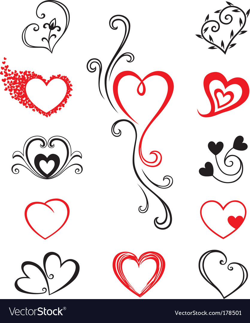 Hearts tattoo vector | Price: 1 Credit (USD $1)