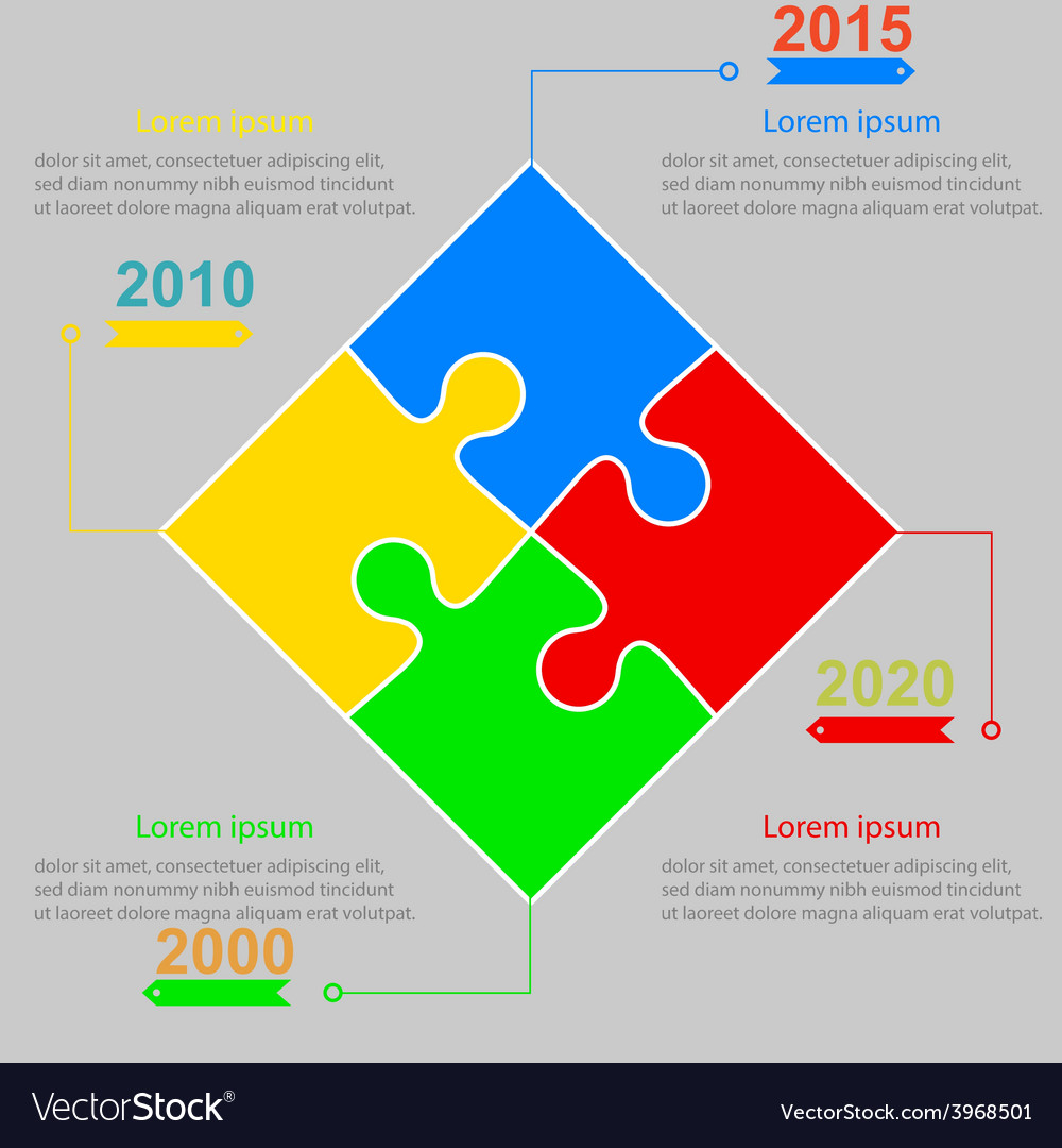 Infographics report templates in a square puzzle vector | Price: 1 Credit (USD $1)
