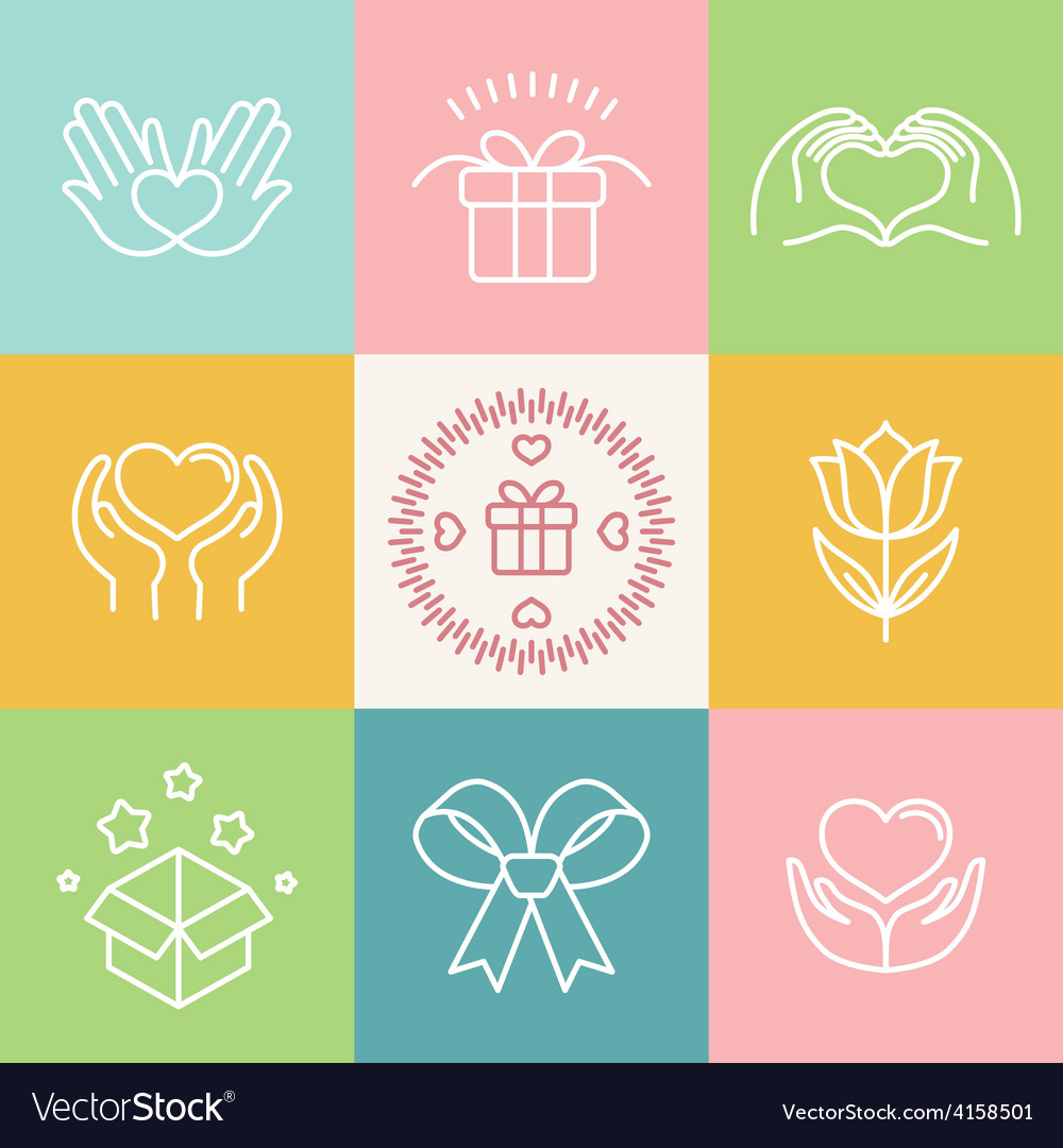 Linear gift icons and logos vector | Price: 1 Credit (USD $1)