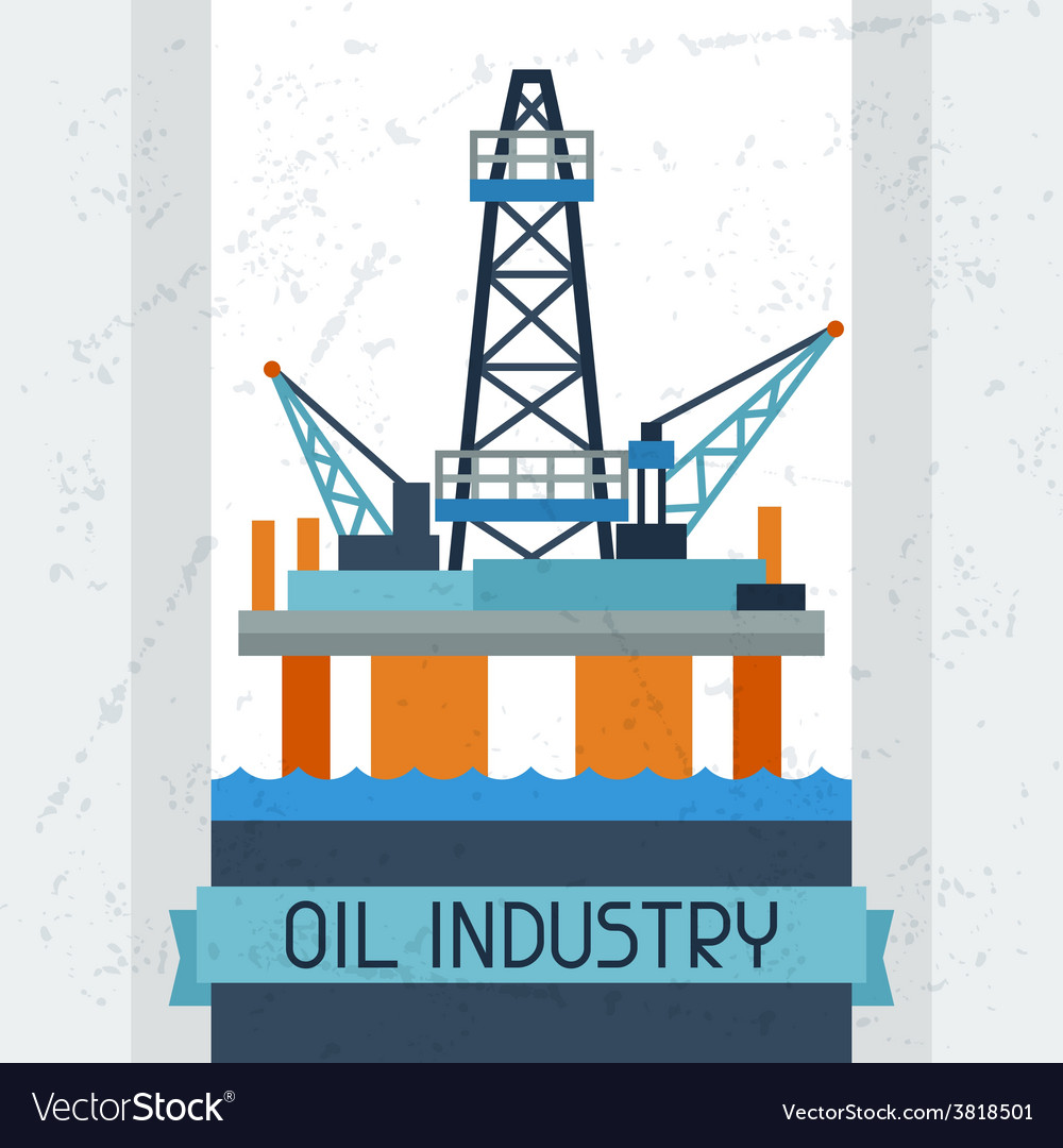 Oil platform in sea background vector | Price: 1 Credit (USD $1)
