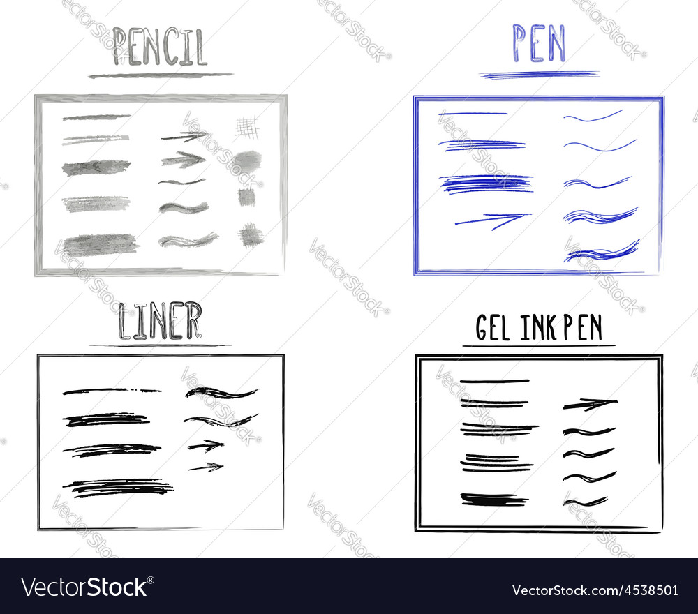 Set of hand drawn doodle sketchy grunge gel ink vector | Price: 1 Credit (USD $1)