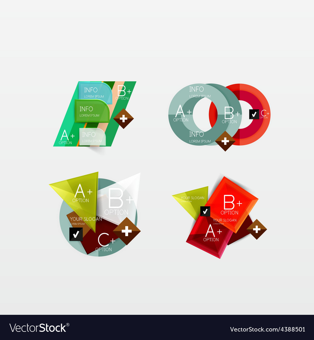 Set of modern geometric infographic web layouts vector   Price: 1 Credit (USD $1)