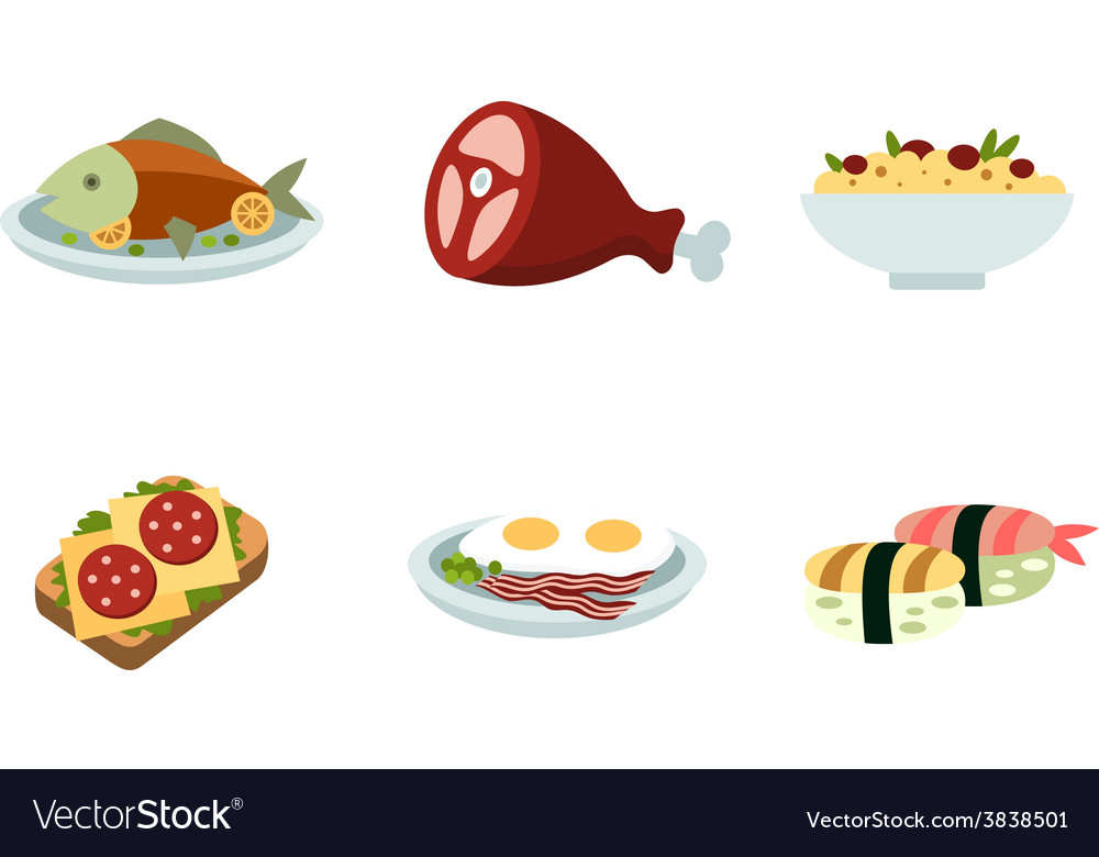 Set of traditional food icons vector | Price: 1 Credit (USD $1)