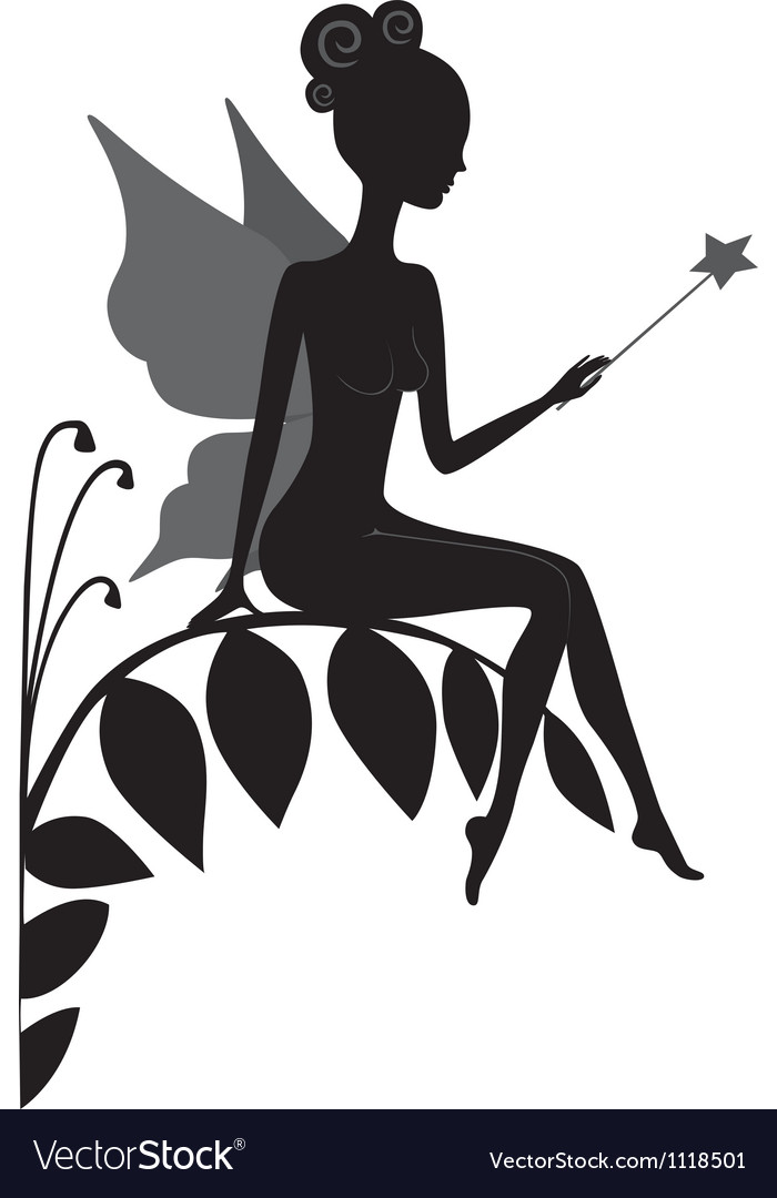 Silhouette of magic fairy vector | Price: 1 Credit (USD $1)
