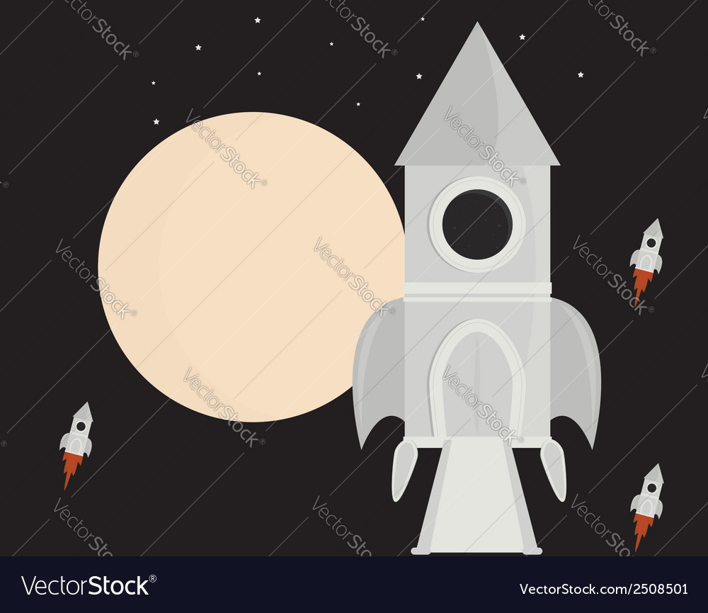 Spaceship in space vector | Price: 1 Credit (USD $1)