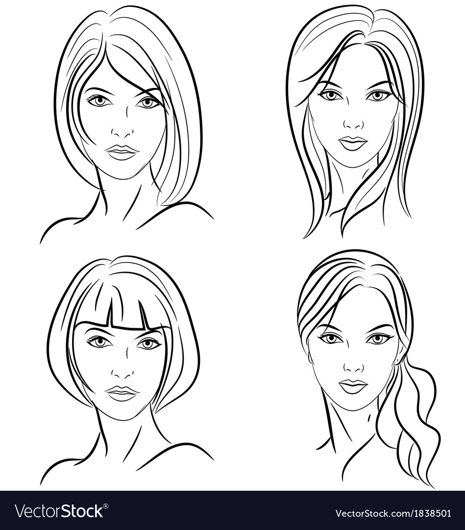 Stylized woman hairstyle vector | Price: 1 Credit (USD $1)
