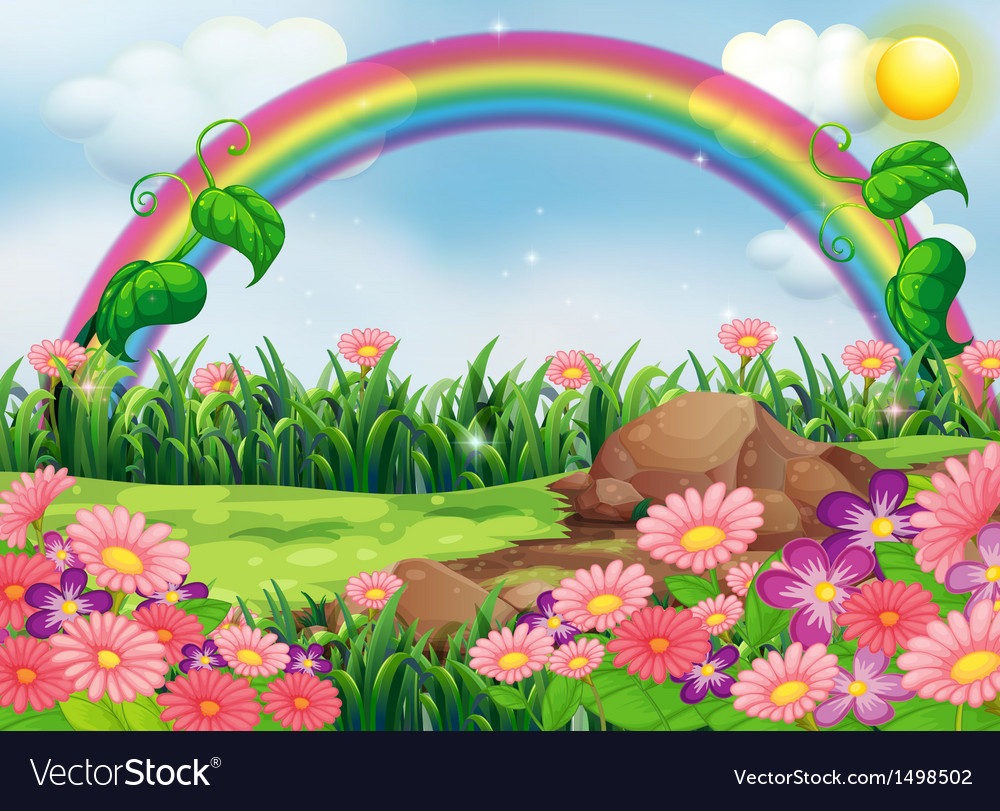 An enchanting garden with a rainbow vector | Price: 1 Credit (USD $1)