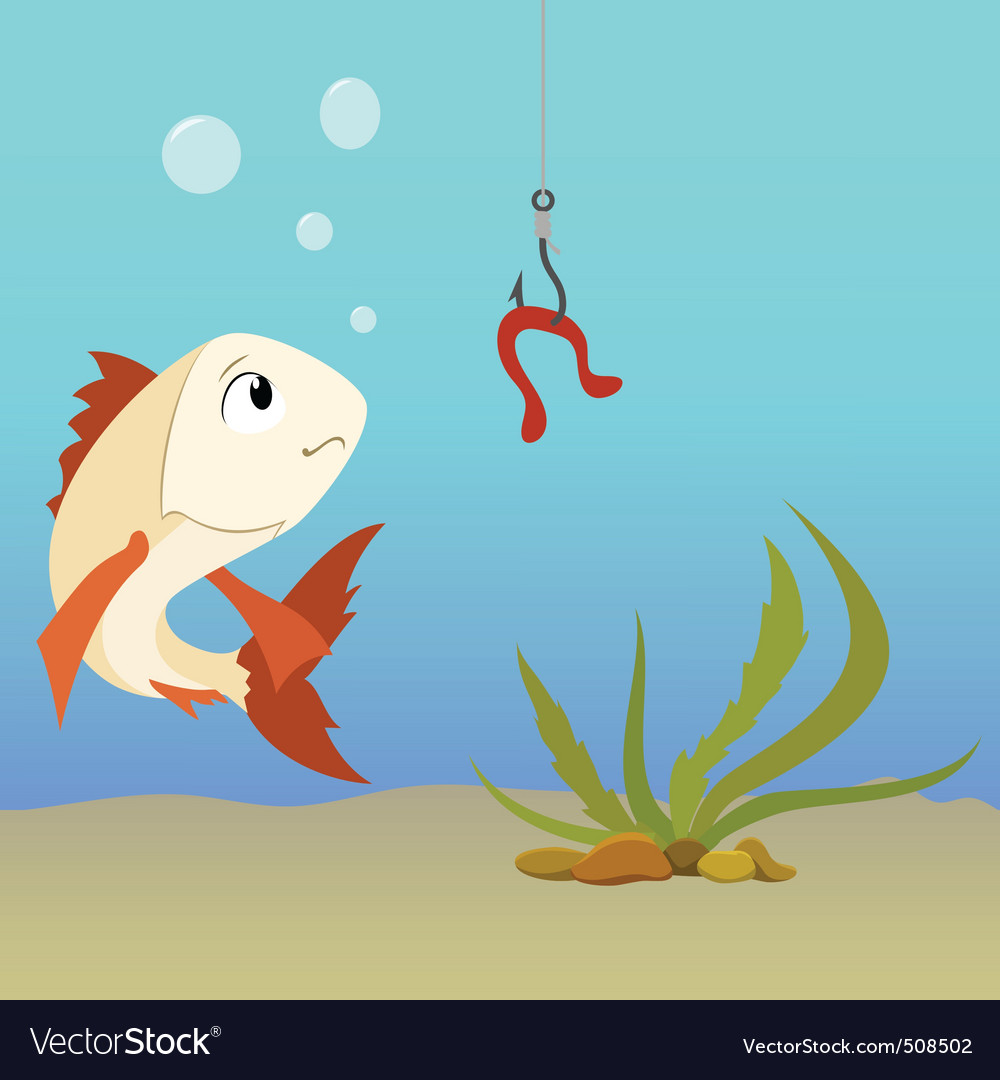 Cartoon fish underwater and earthworm on the hook vector | Price: 1 Credit (USD $1)