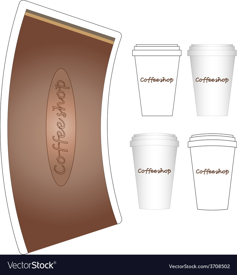 Coffee paper cup mock-up layout vector | Price: 1 Credit (USD $1)