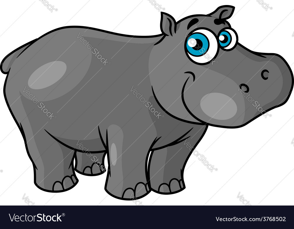 Cute cartoon baby hippo with blue eyes vector | Price: 1 Credit (USD $1)
