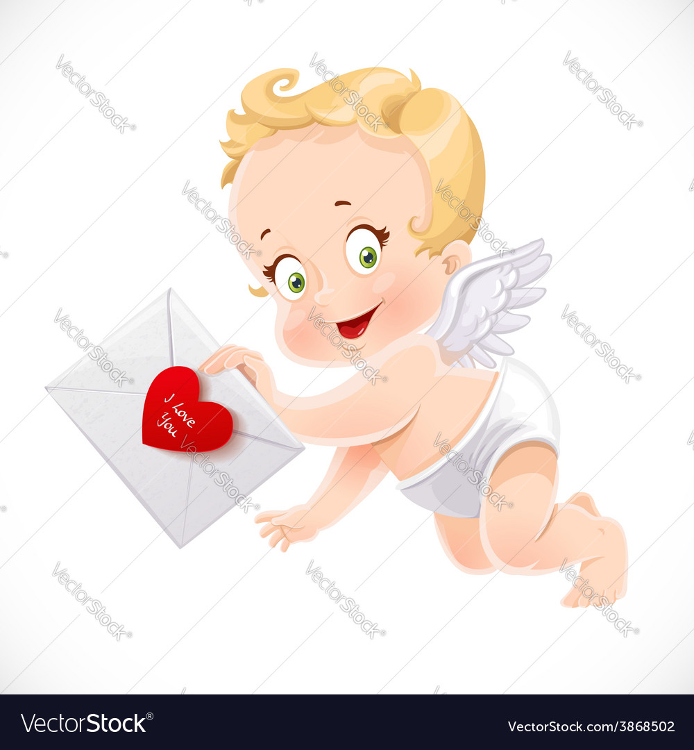 Cute little cupid flies with a love letter vector | Price: 3 Credit (USD $3)