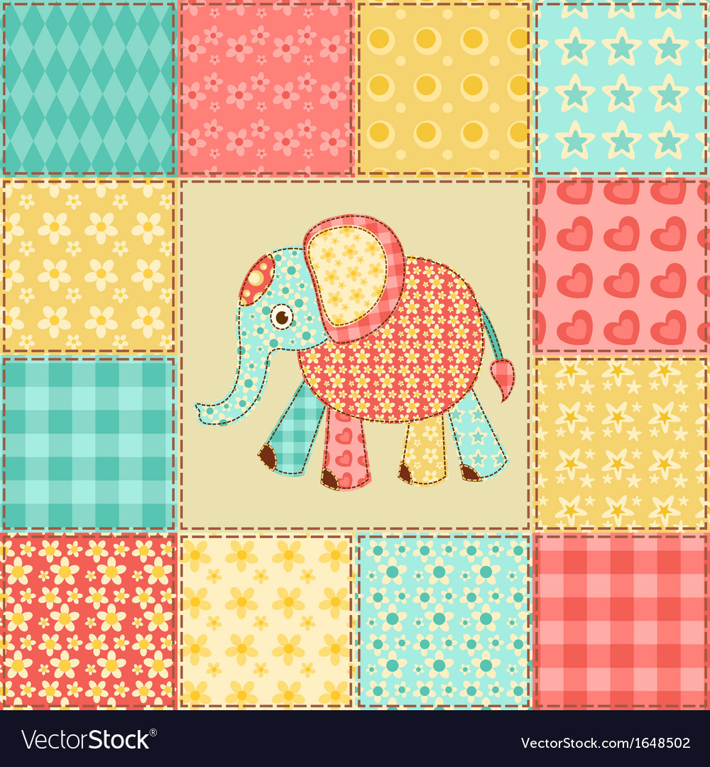 Elephant patchwork pattern vector | Price: 1 Credit (USD $1)
