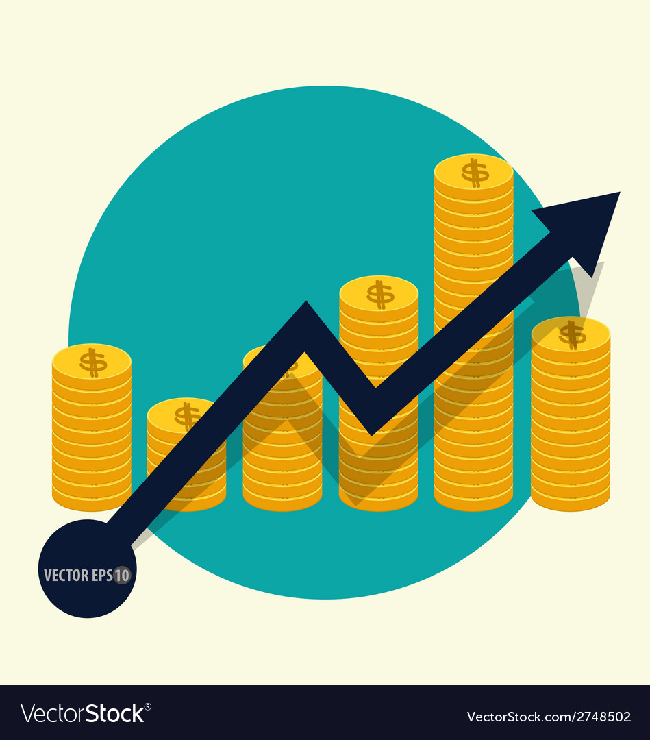 Financial success concept coin bar graph business vector | Price: 1 Credit (USD $1)