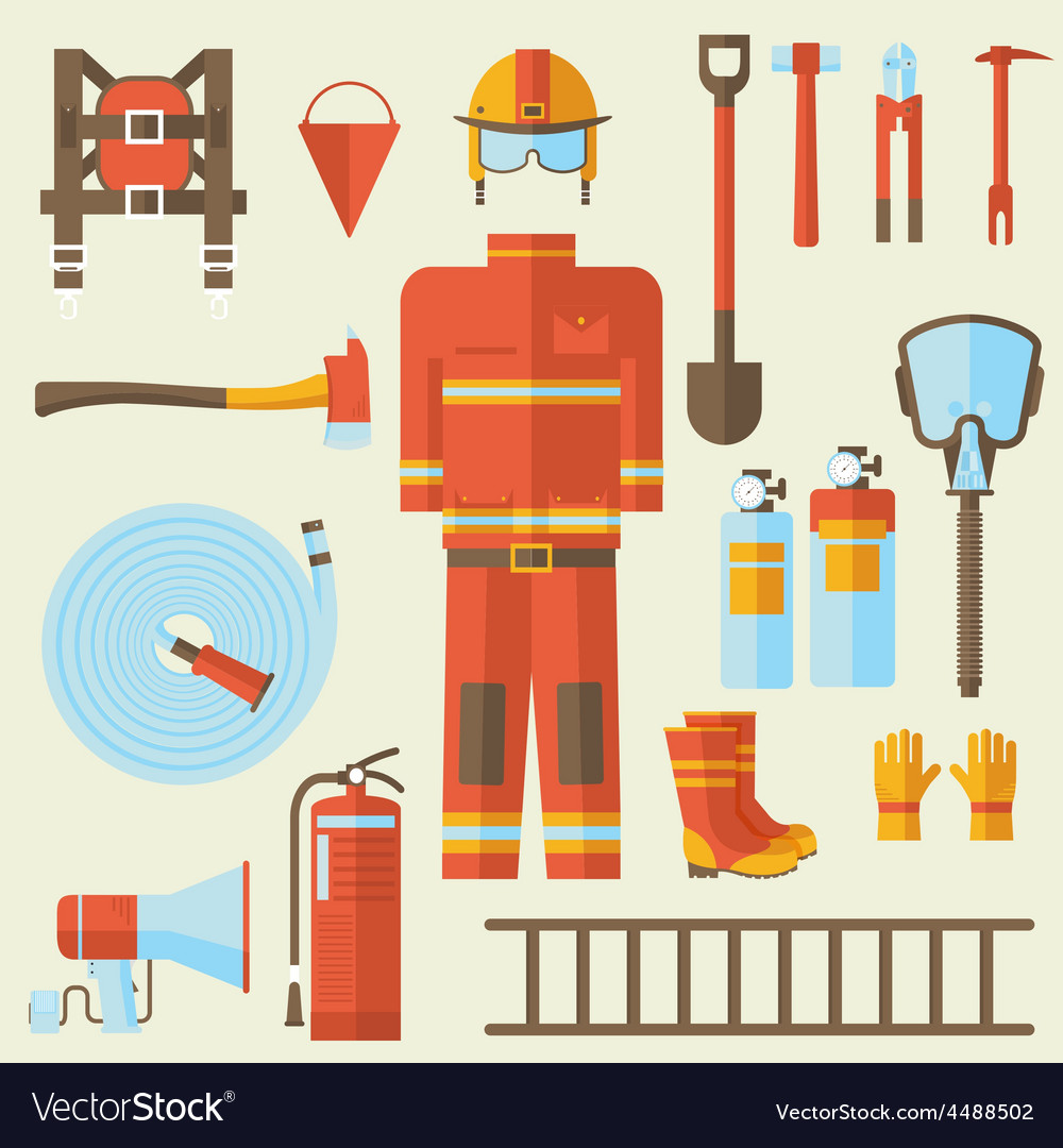 Firefighter uniform and first help equipment and vector | Price: 1 Credit (USD $1)
