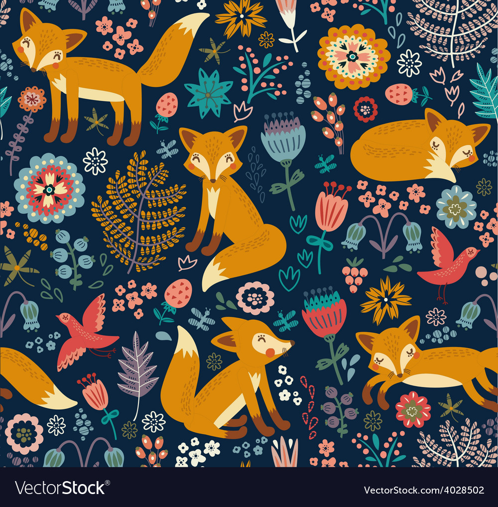 Foxy pattern dark vector | Price: 1 Credit (USD $1)