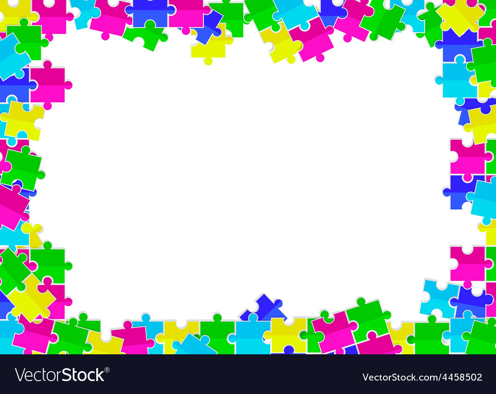 Frame from scattered colored flat puzzles toys vector | Price: 1 Credit (USD $1)
