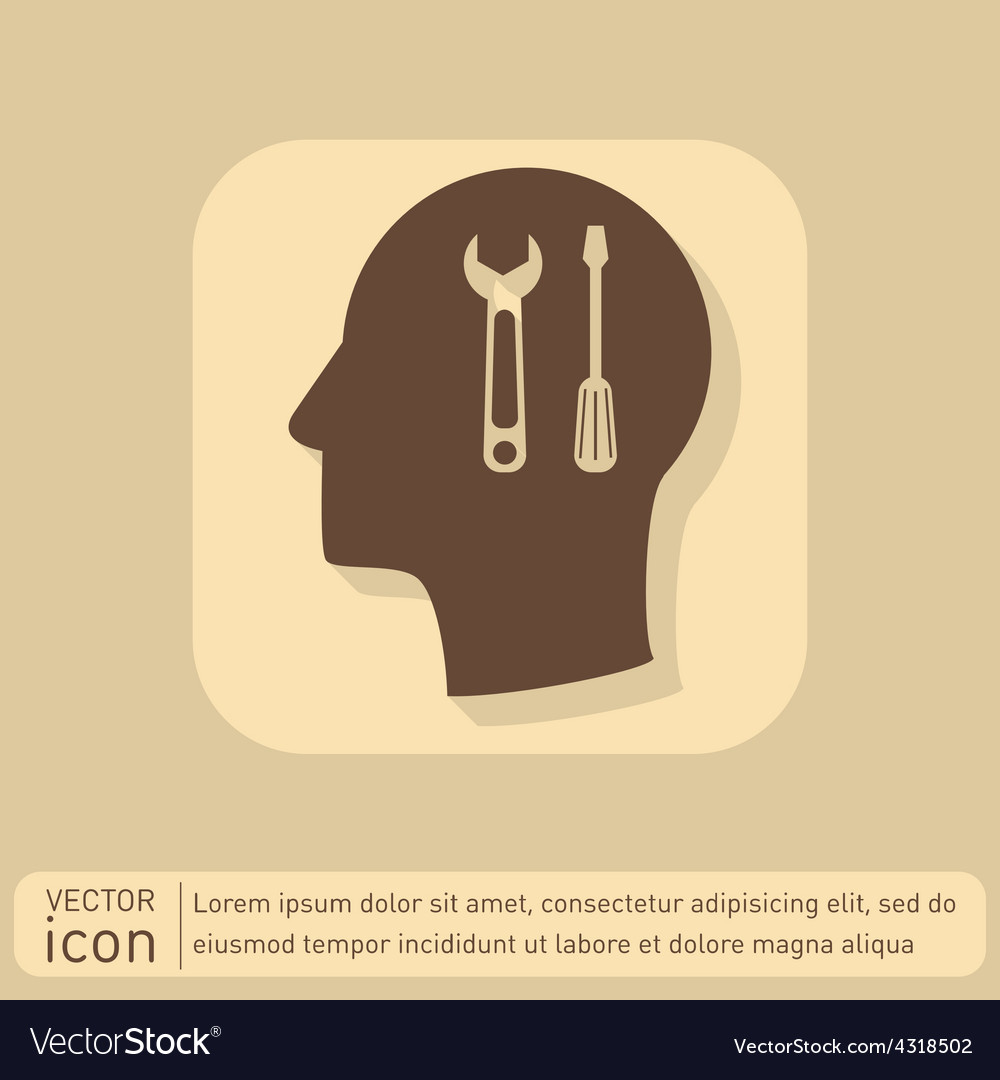 Icon head think silhoutte man and his mind about s vector | Price: 1 Credit (USD $1)