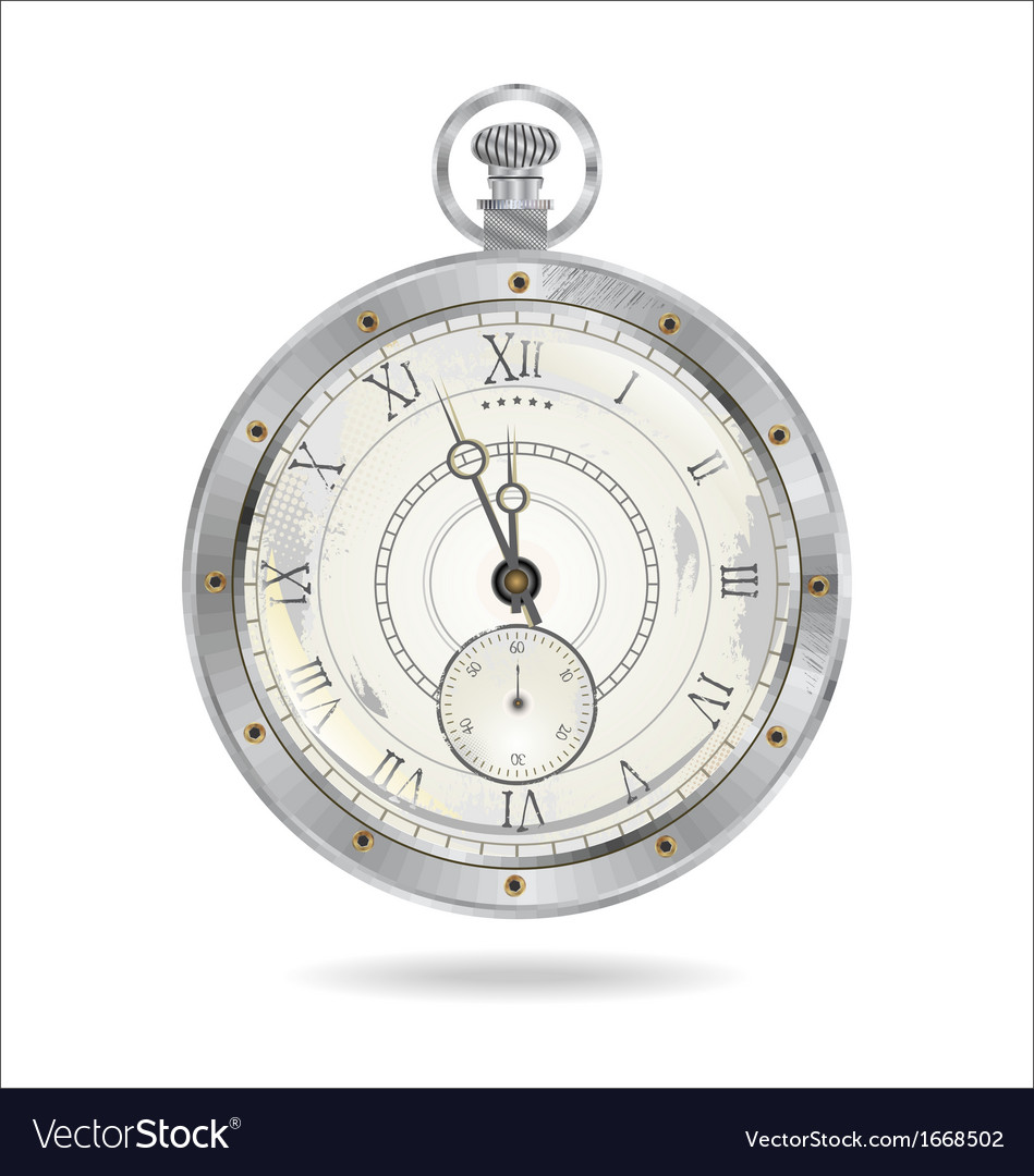Old silver watch vector | Price: 1 Credit (USD $1)