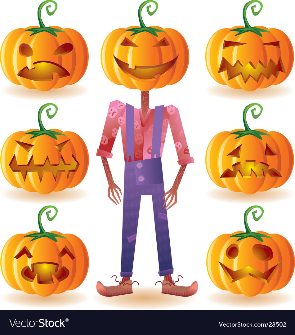 Seven pumpkins and one scarecrow vector | Price: 3 Credit (USD $3)