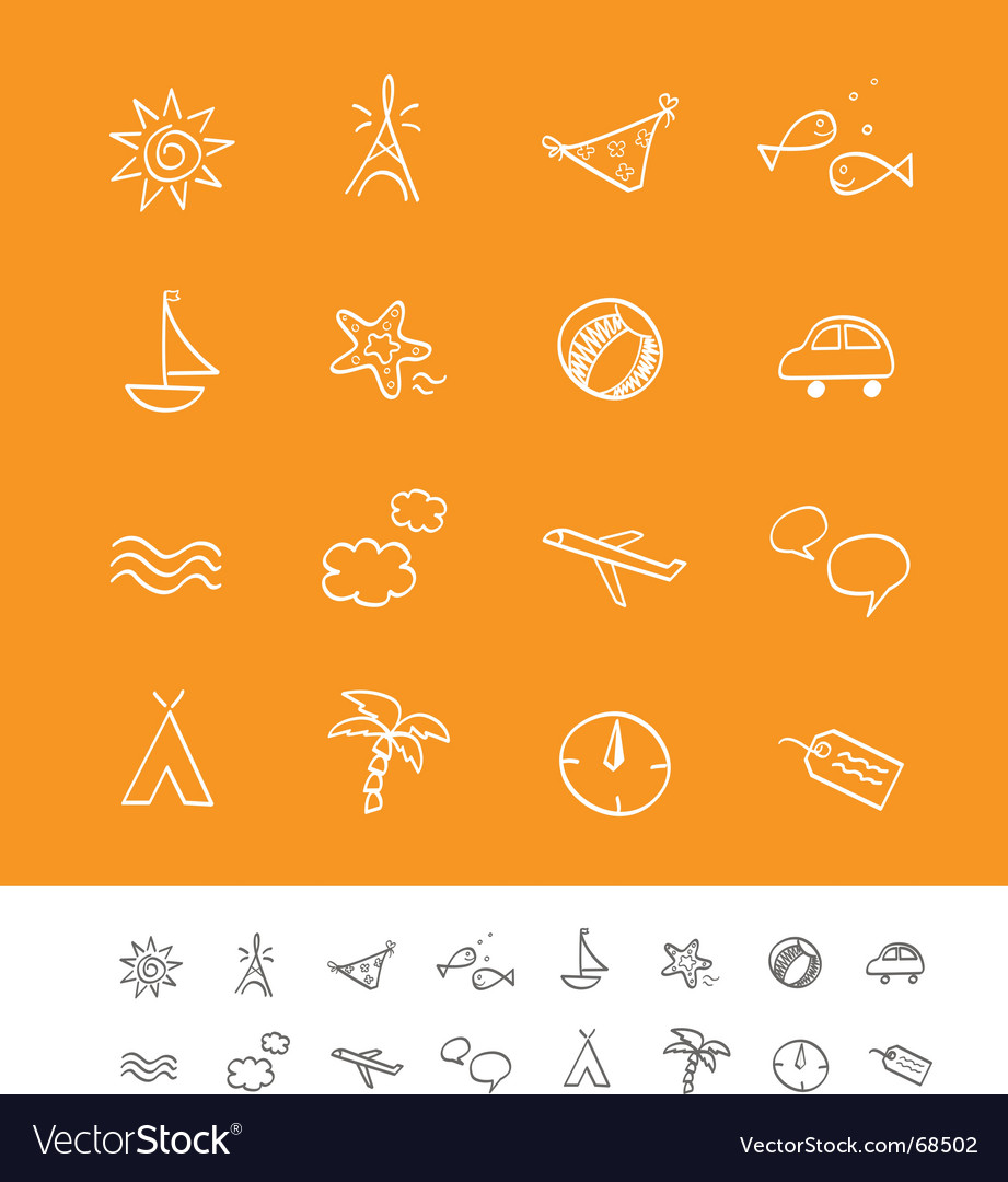 Summer and travel iconset vector | Price: 1 Credit (USD $1)