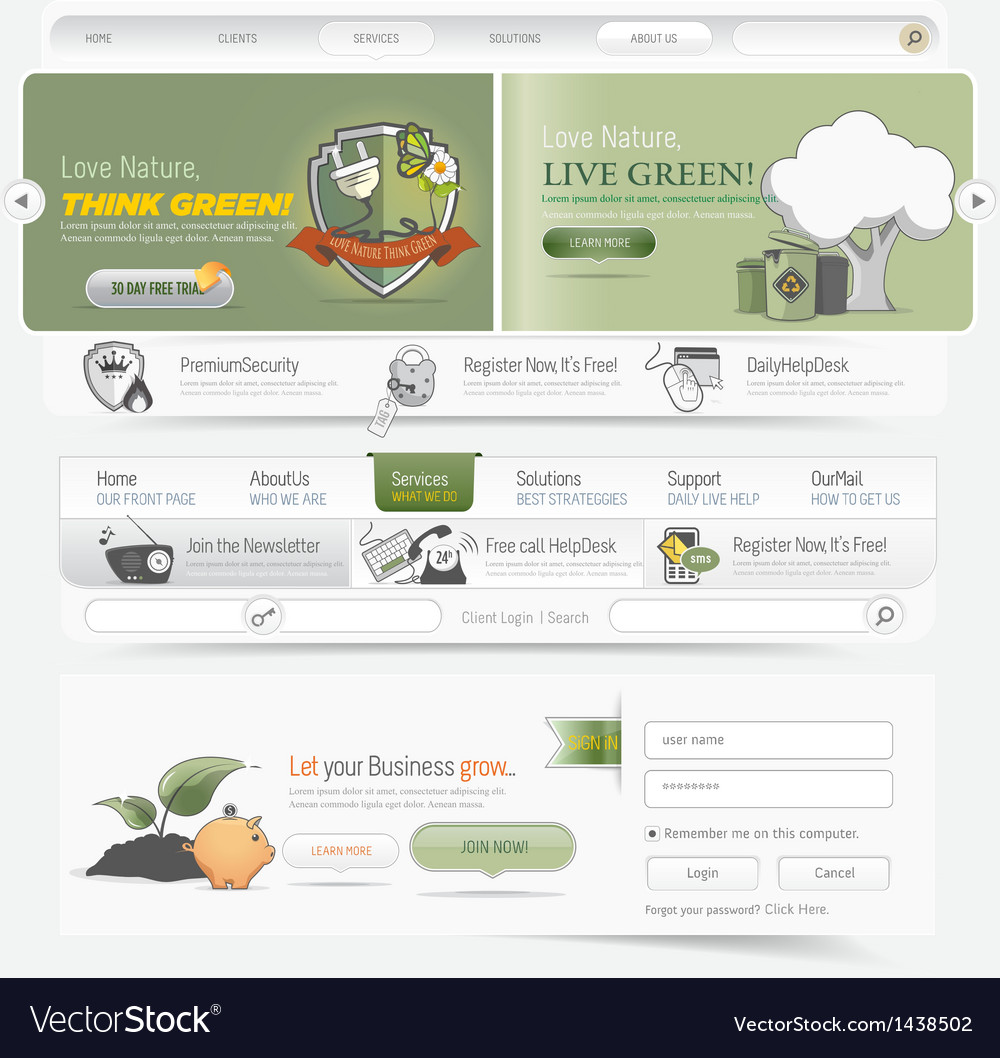 Web site navigation menu pack vector | Price: 1 Credit (USD $1)