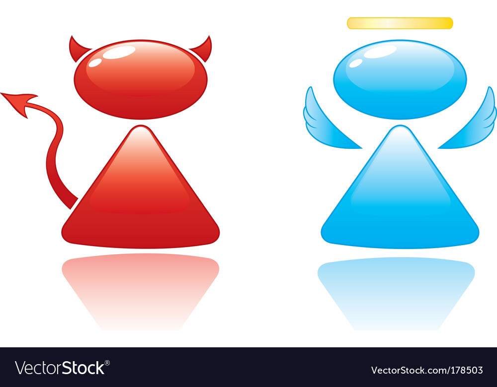 Angel and devil icons vector | Price: 1 Credit (USD $1)