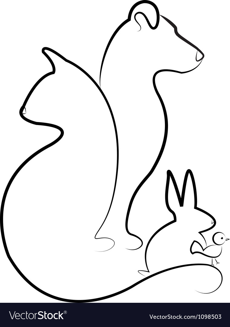 Cat dog rabbit and bird silhouettes logo vector | Price: 1 Credit (USD $1)
