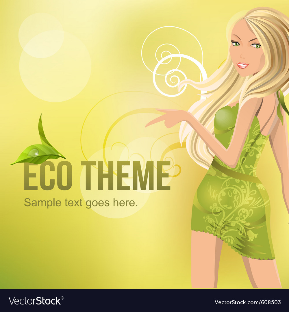 Eco background with beautiful blond vector   Price: 1 Credit (USD $1)