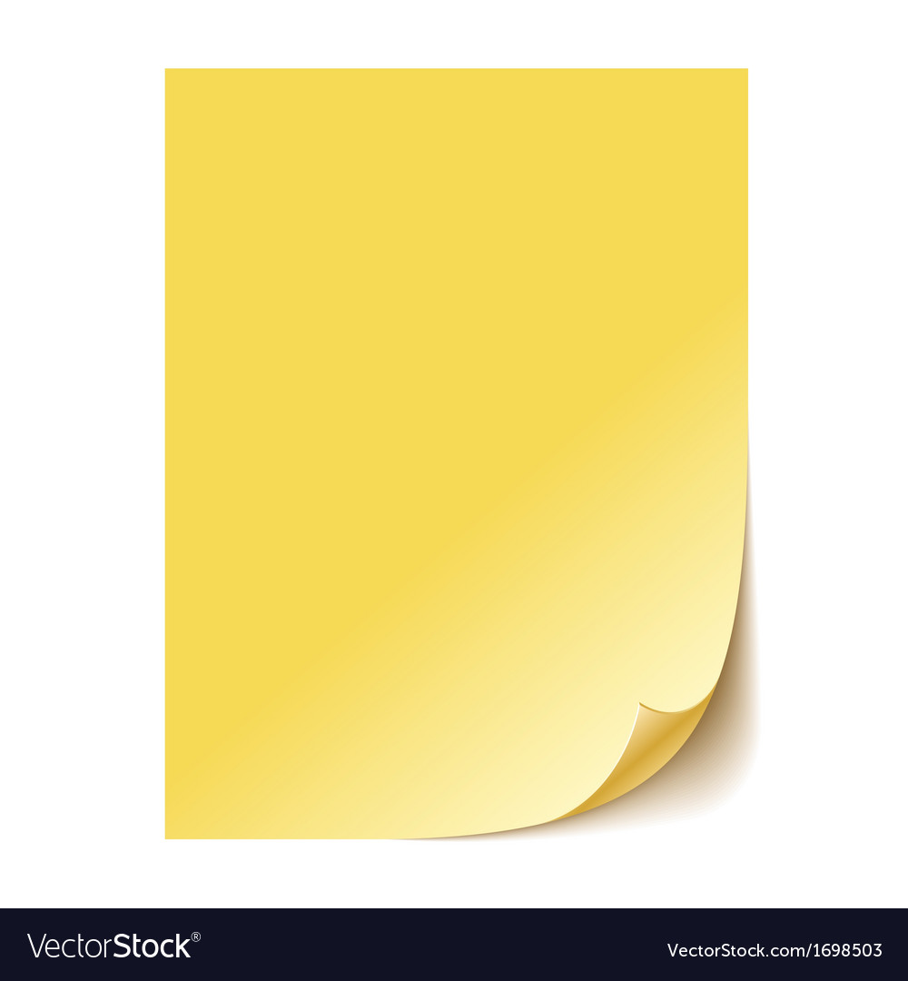 Empty yellow paper sheet eps10 vector | Price: 1 Credit (USD $1)