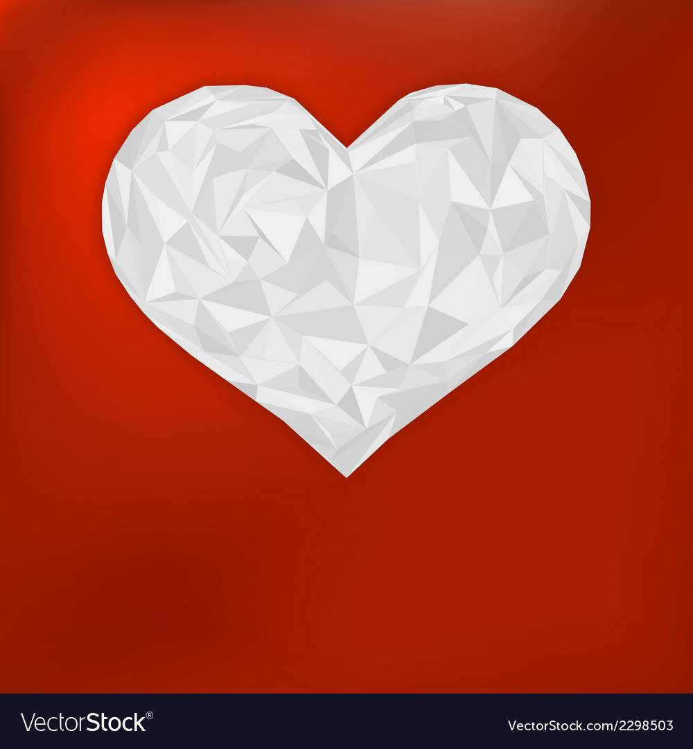 Origami paper heart on red  eps8 vector | Price: 1 Credit (USD $1)