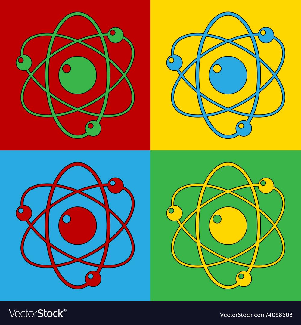 Pop art atom icons vector | Price: 1 Credit (USD $1)