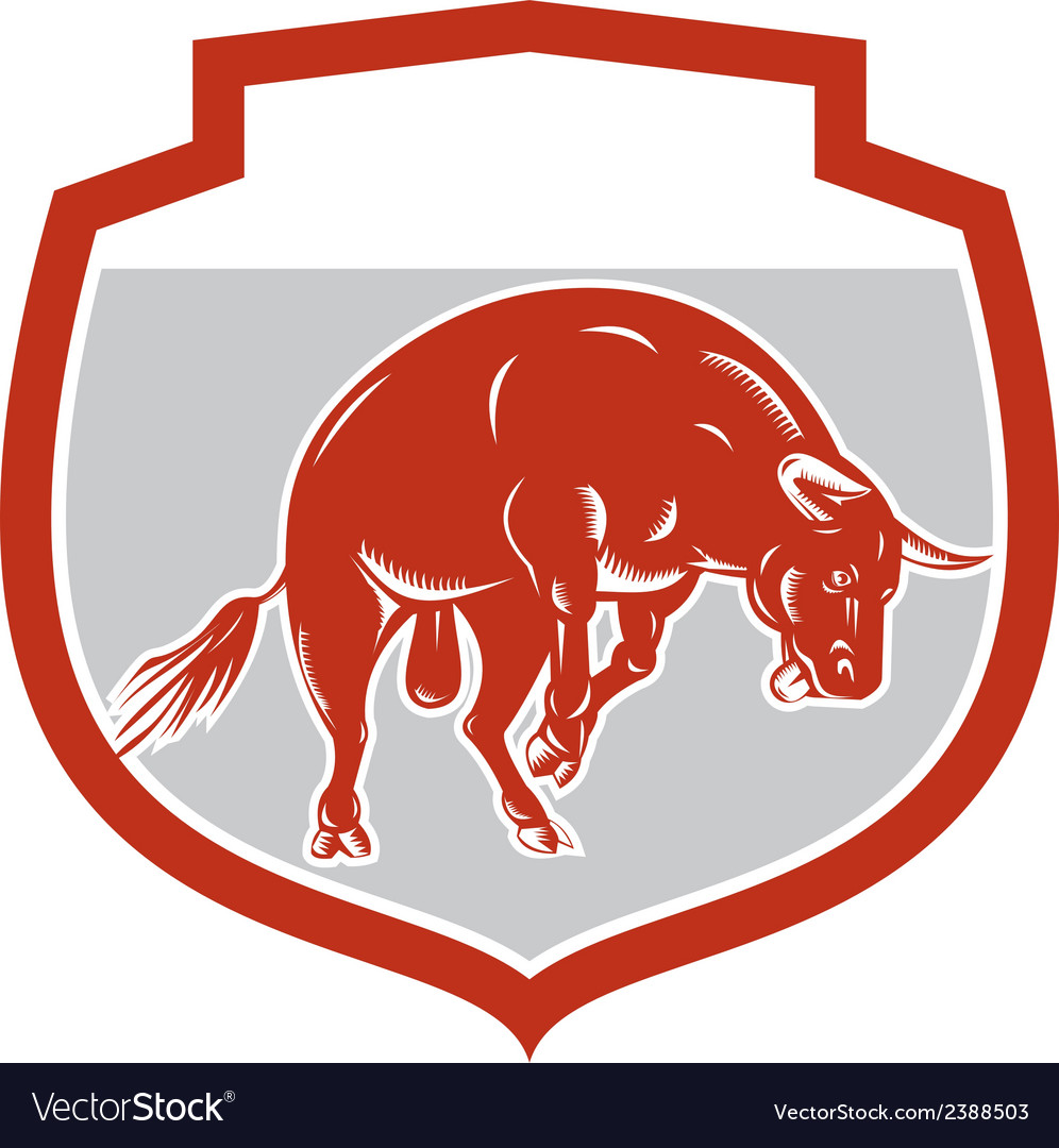 Raging bull jumping attacking charging retro vector | Price: 1 Credit (USD $1)