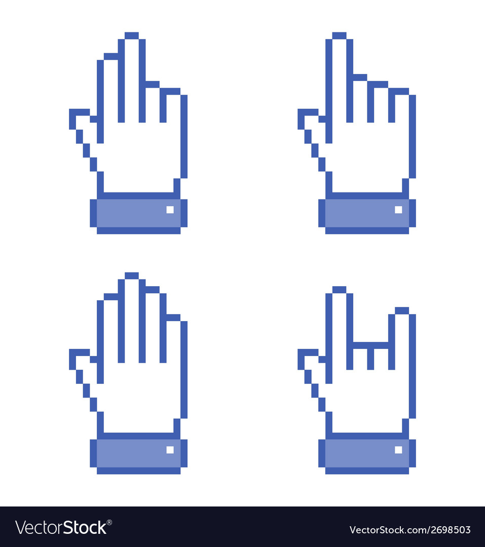 Set of blue pixel hand icons vector | Price: 1 Credit (USD $1)