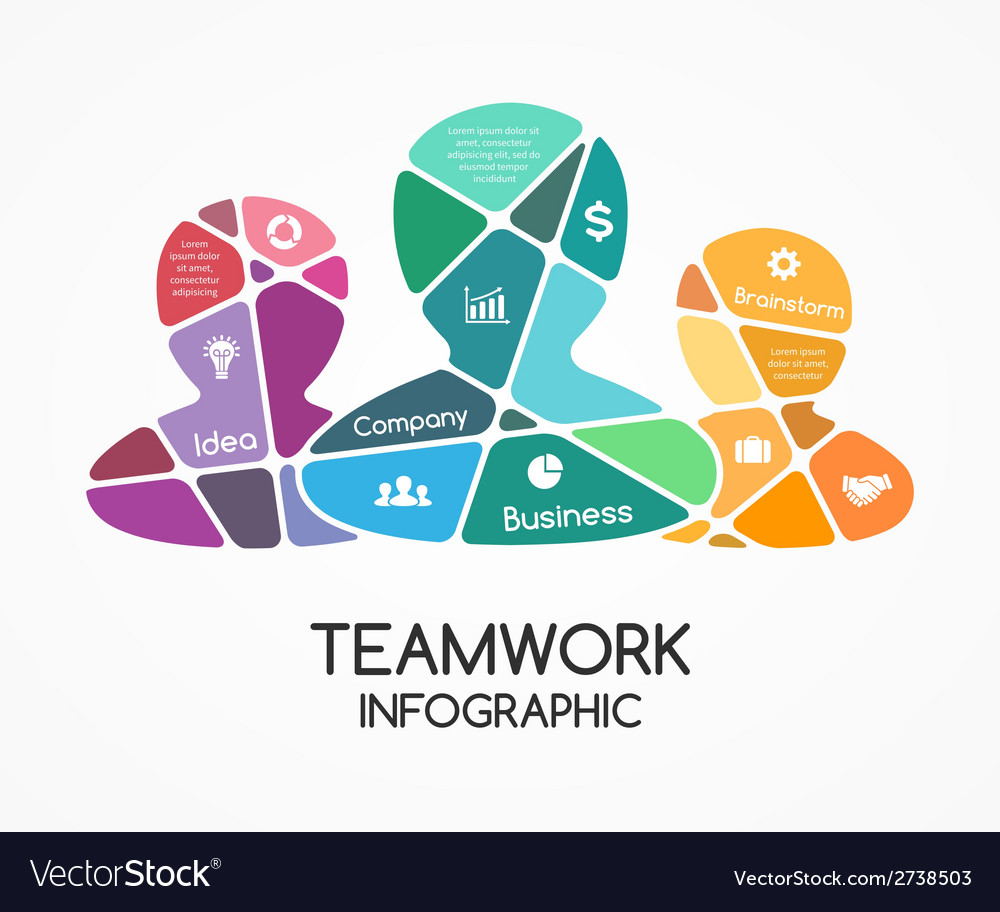 Teamwork infographic template for a partnership vector | Price: 1 Credit (USD $1)