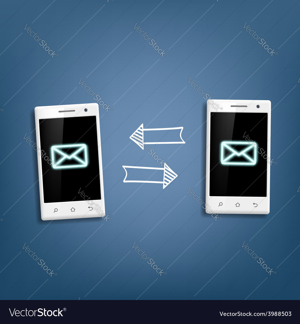 Transmission of messages between phones vector | Price: 1 Credit (USD $1)