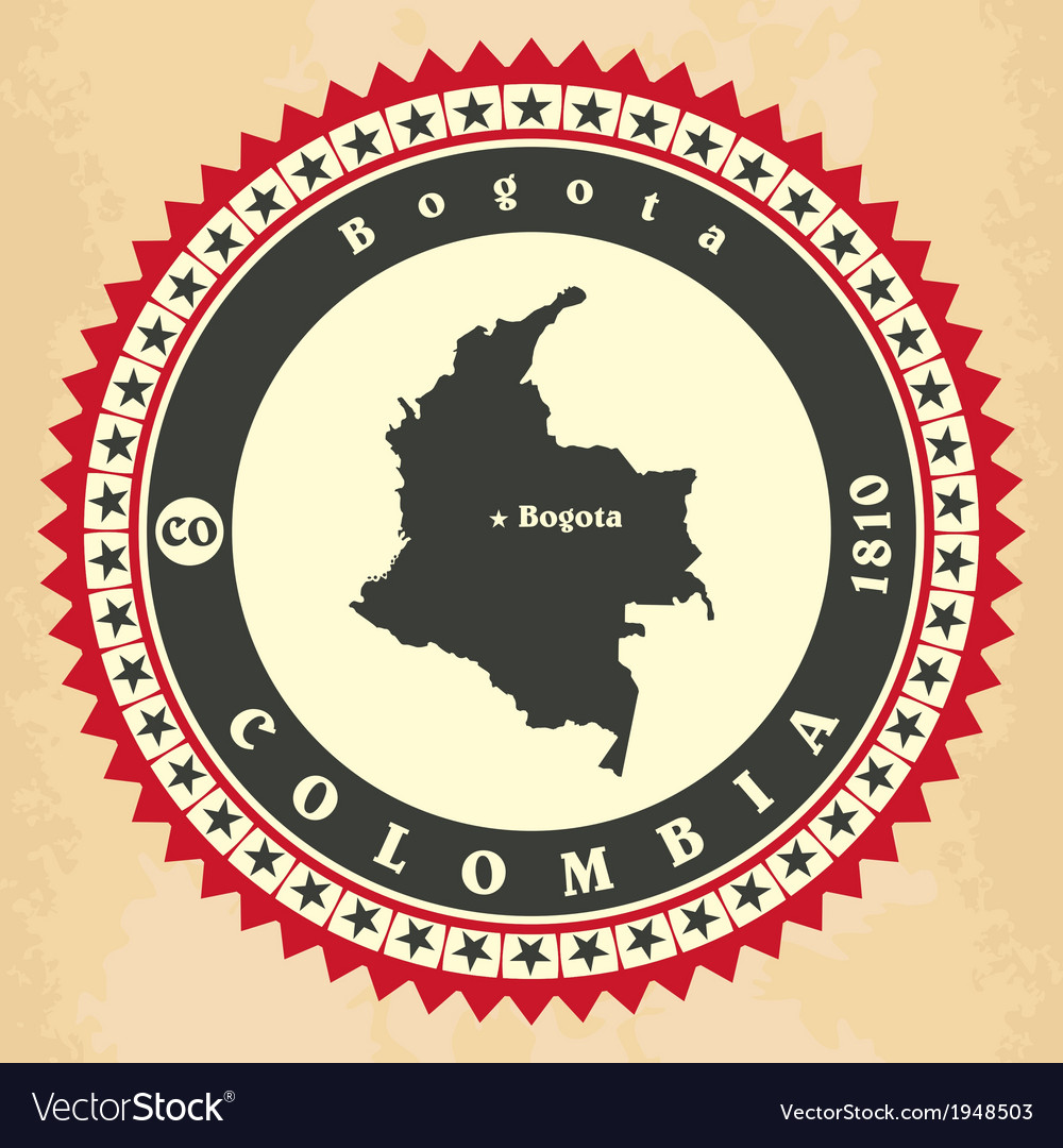 Vintage label-sticker cards of colombia vector | Price: 1 Credit (USD $1)