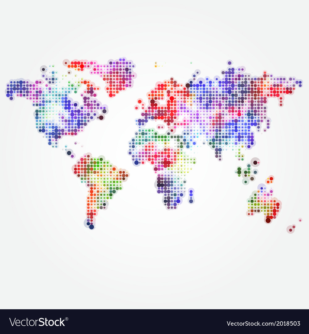 World map with colored dots of different sizes vector | Price: 1 Credit (USD $1)