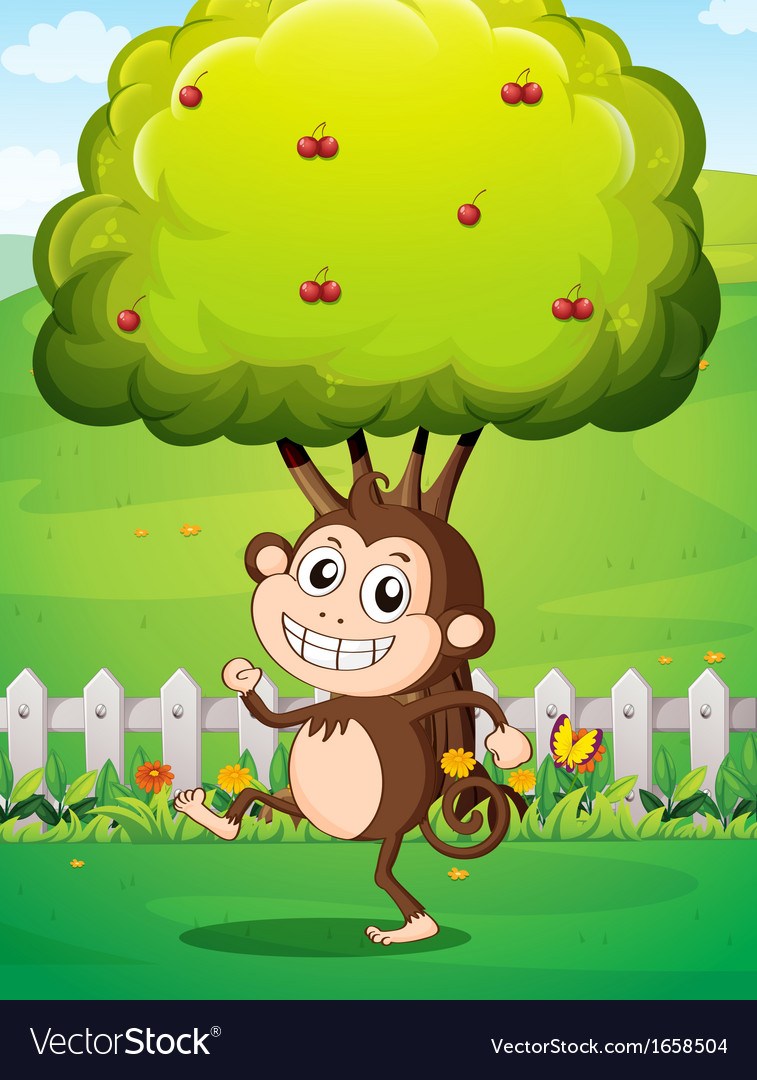 A smiling young monkey near the fence with a tree vector | Price: 3 Credit (USD $3)