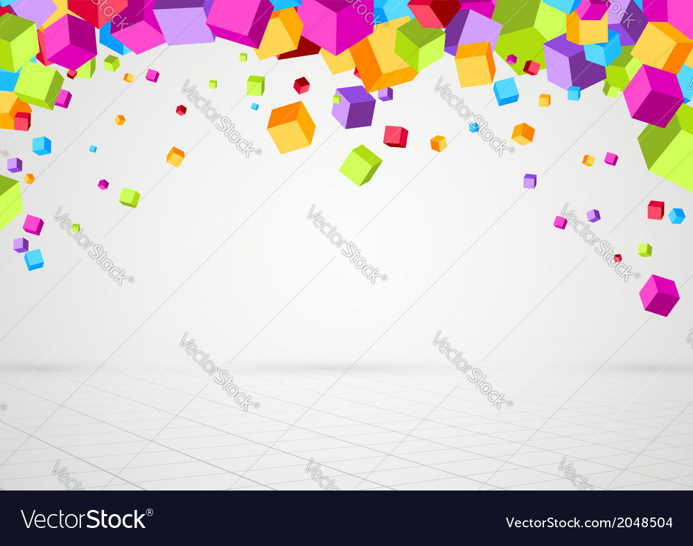Bright colorful cubes threedimensional background vector | Price: 1 Credit (USD $1)