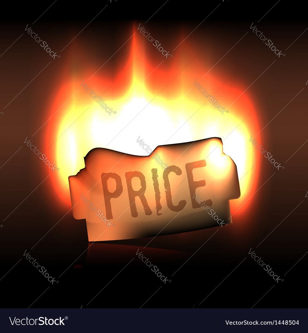 Burning bright price sticker in the dark vector | Price:  Credit (USD $)