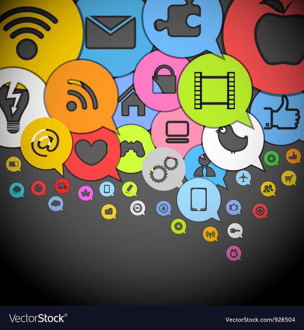 Color media icons vector | Price: 1 Credit (USD $1)