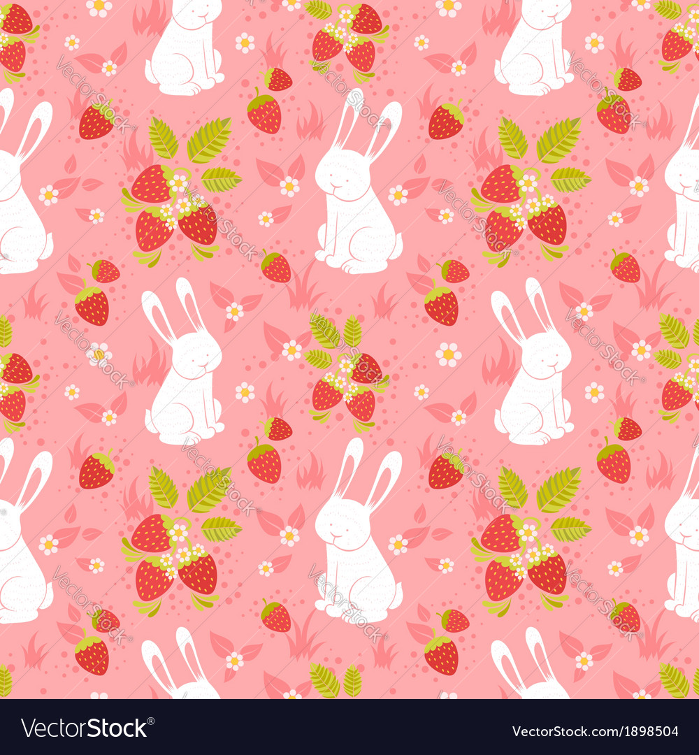 Cute rabbits seamless pattern vector | Price: 1 Credit (USD $1)