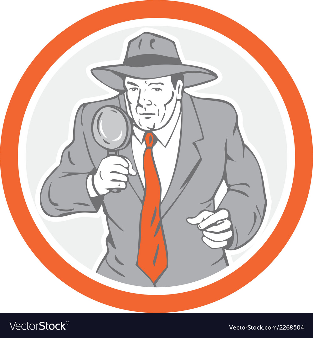 Detective holding magnifying glass circle retro vector | Price: 1 Credit (USD $1)