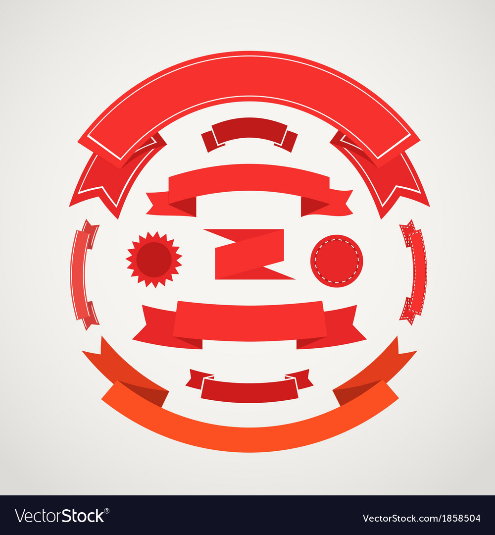 Different retro style composition of red ribbons vector | Price: 1 Credit (USD $1)