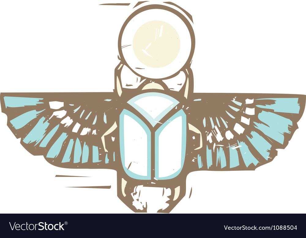 Egyptian distressed winged scarab vector | Price: 1 Credit (USD $1)