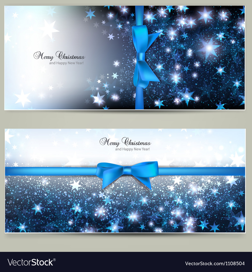 Elegant christmas greeting cards with blue bows vector   Price: 1 Credit (USD $1)