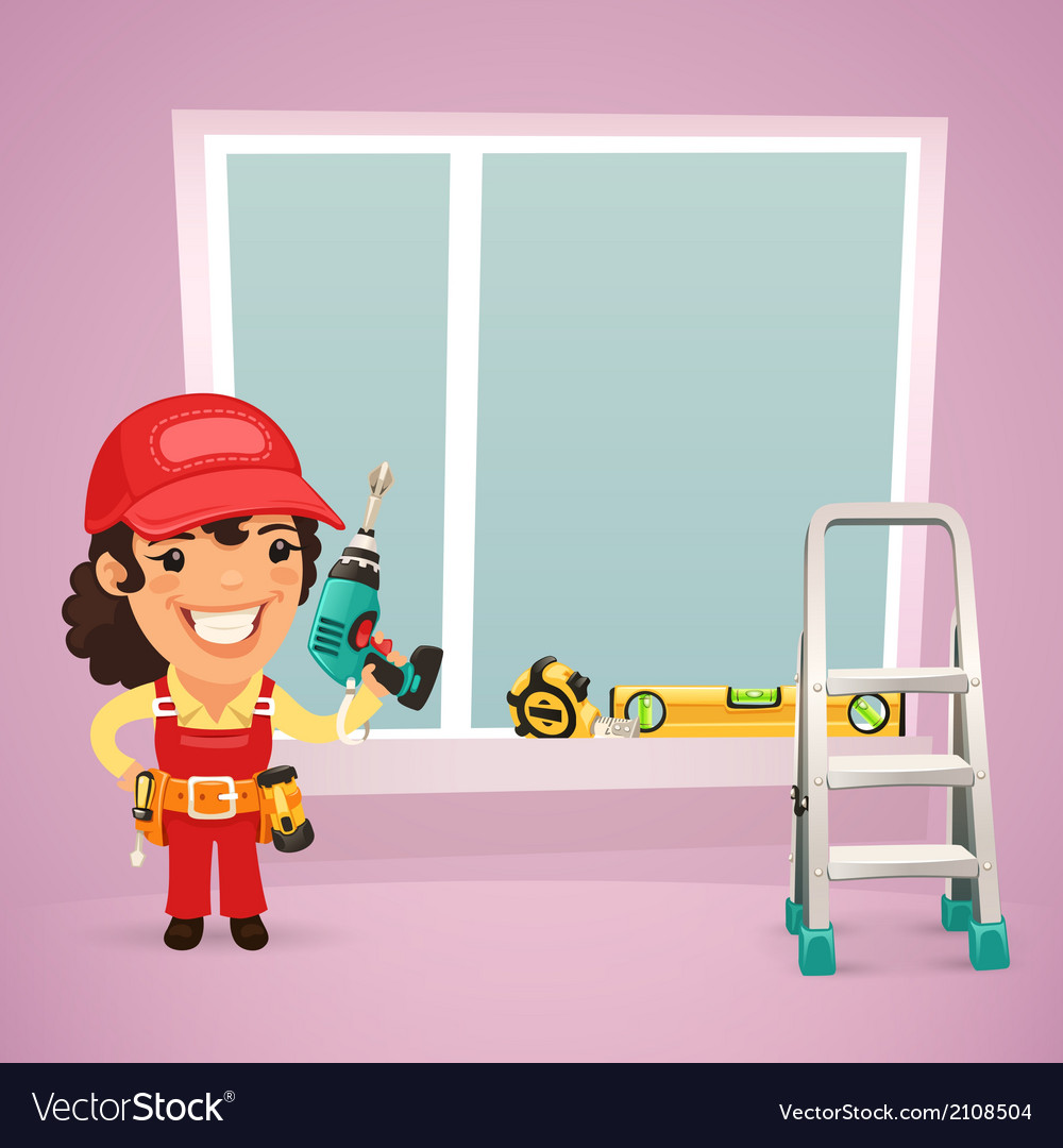 Female worker is installing the window vector | Price: 3 Credit (USD $3)