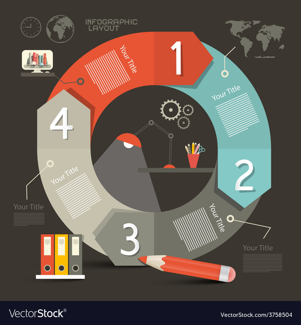 Infographics template - layout with lamp - cogs vector | Price: 1 Credit (USD $1)